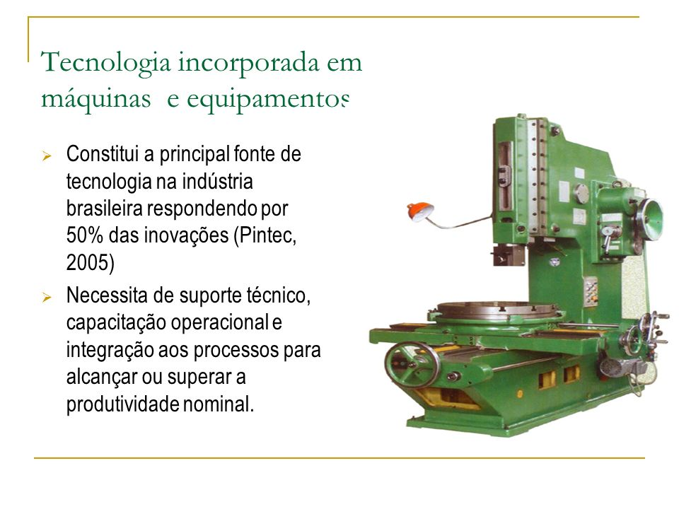 Tecnologia incorporada em máquinas e equipamentos