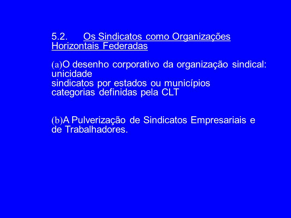5.2. Os Sindicatos como Organizações Horizontais Federadas