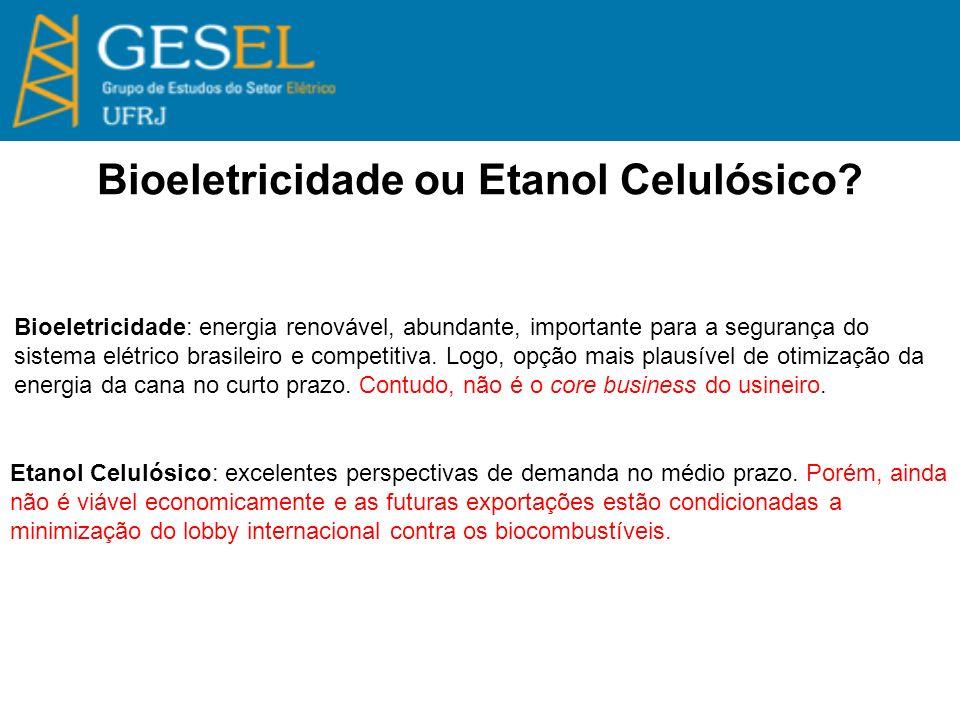 Bioeletricidade ou Etanol Celulósico