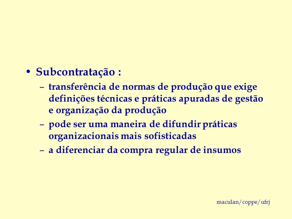 Subcontratação :transferência de normas de produção que exige definições técnicas e práticas apuradas de gestão e organização da produção.