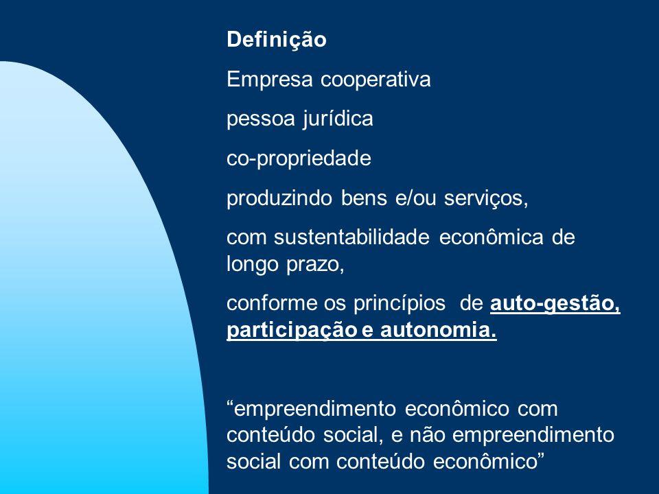 Definição Empresa cooperativa. pessoa jurídica. co-propriedade. produzindo bens e/ou serviços, com sustentabilidade econômica de longo prazo,