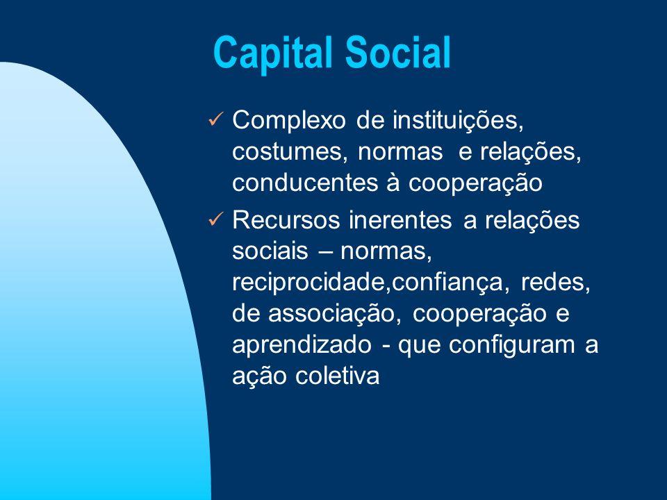 Capital Social Complexo de instituições, costumes, normas e relações, conducentes à cooperação.