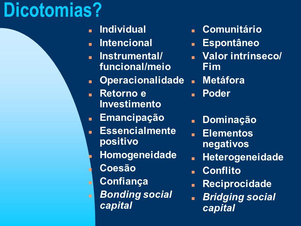Dicotomias Individual Intencional Instrumental/ funcional/meio