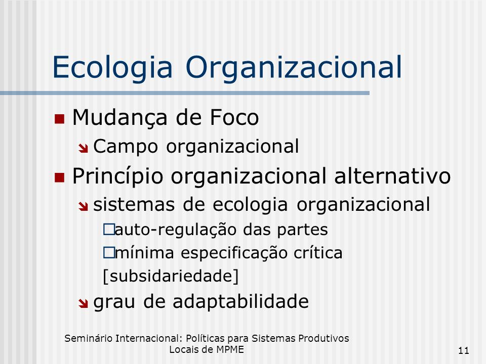 Ecologia Organizacional