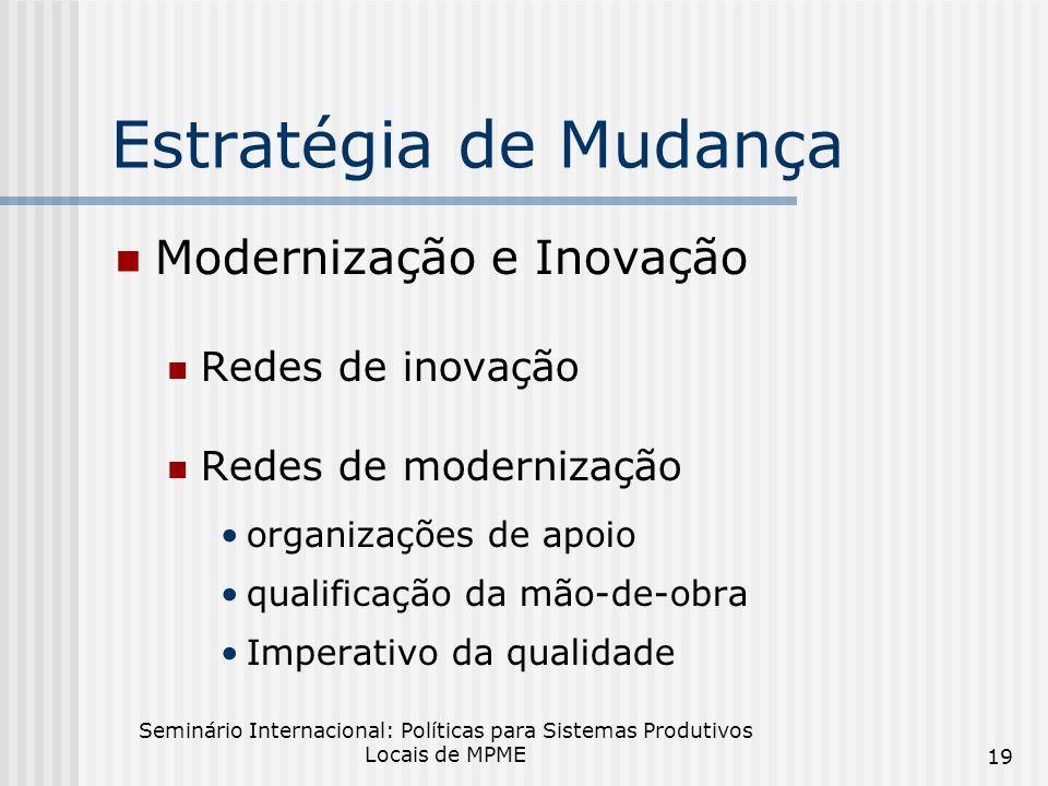 Estratégia de Mudança Modernização e Inovação Redes de inovação