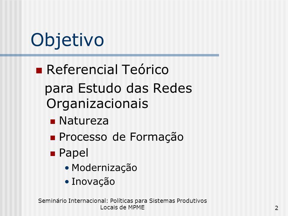 Objetivo Referencial Teórico para Estudo das Redes Organizacionais