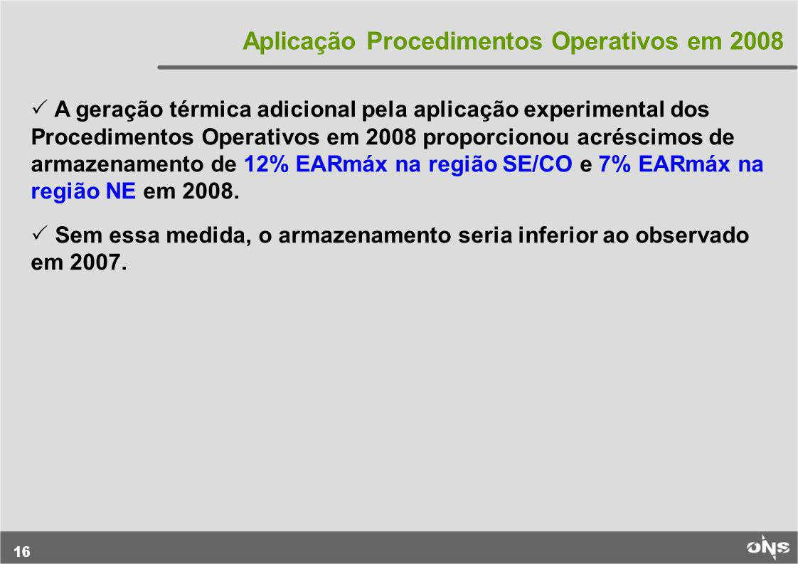Aplicação Procedimentos Operativos em 2008