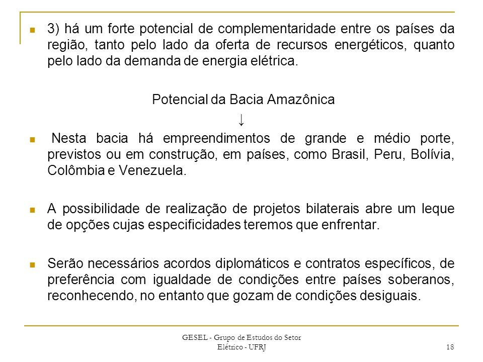 Potencial da Bacia Amazônica ↓