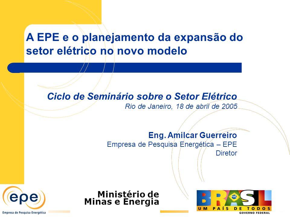 A EPE e o planejamento da expansão do setor elétrico no novo modelo