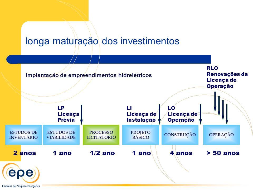 longa maturação dos investimentos