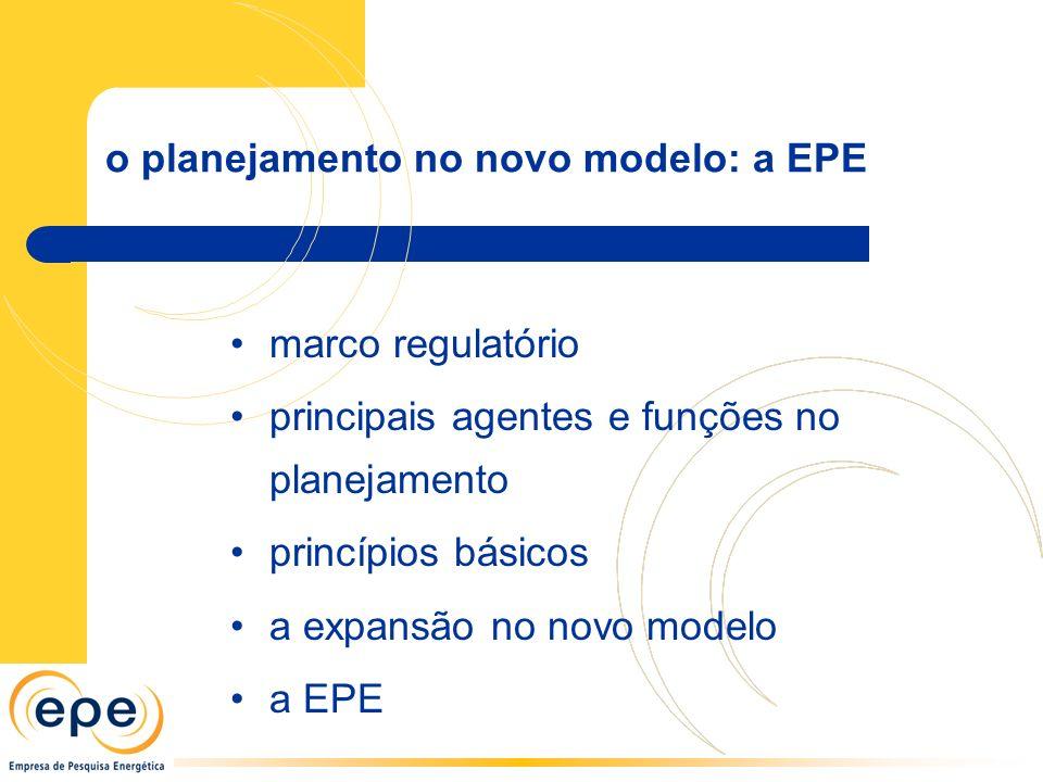 o planejamento no novo modelo: a EPE
