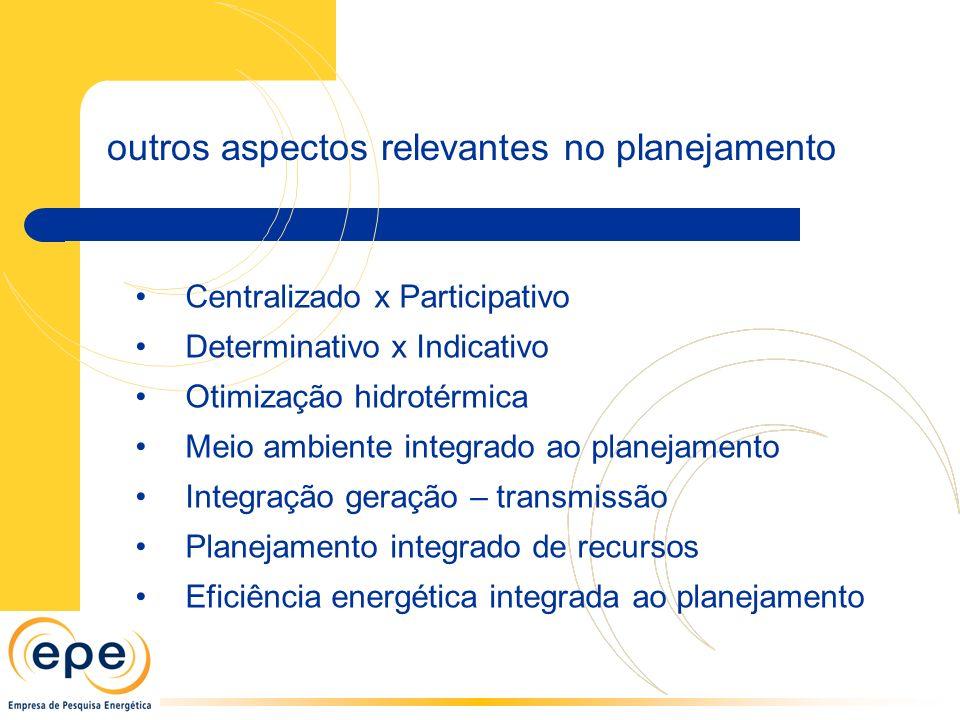 outros aspectos relevantes no planejamento