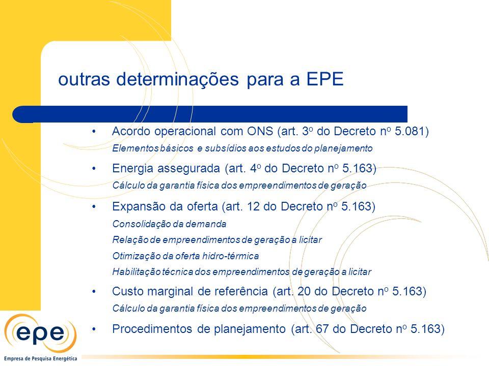 outras determinações para a EPE