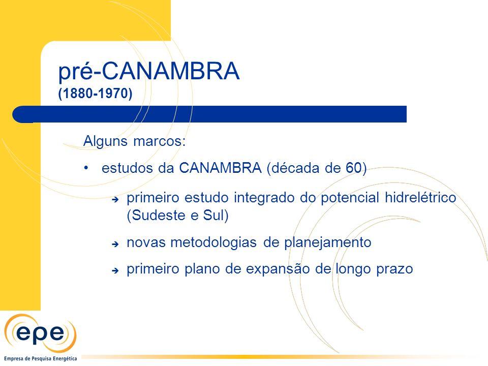 pré-CANAMBRA Alguns marcos: estudos da CANAMBRA (década de 60)