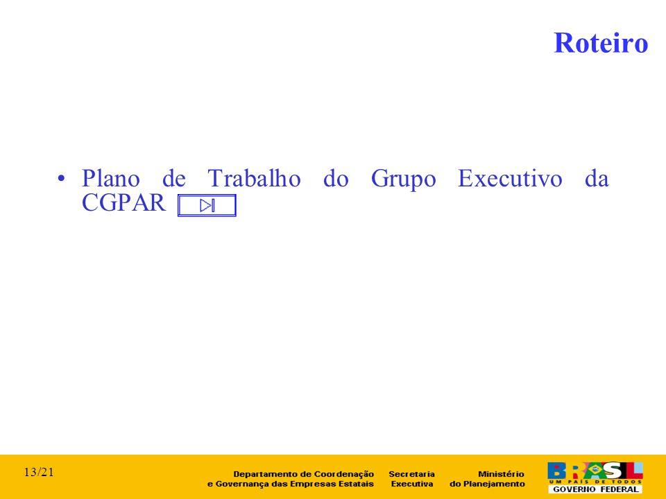 Roteiro Plano de Trabalho do Grupo Executivo da CGPAR 13/21