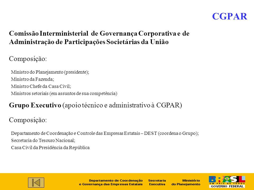 CGPAR Comissão Interministerial de Governança Corporativa e de Administração de Participações Societárias da União.