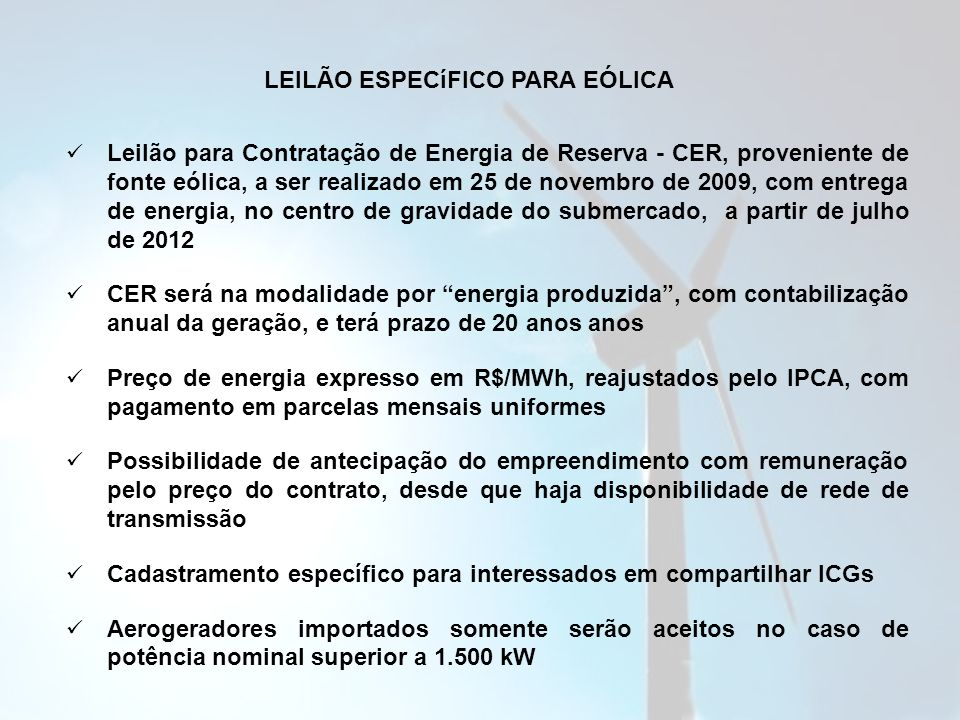LEILÃO ESPECíFICO PARA EÓLICA