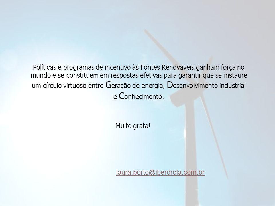 Políticas e programas de incentivo às Fontes Renováveis ganham força no mundo e se constituem em respostas efetivas para garantir que se instaure um círculo virtuoso entre Geração de energia, Desenvolvimento industrial e Conhecimento.