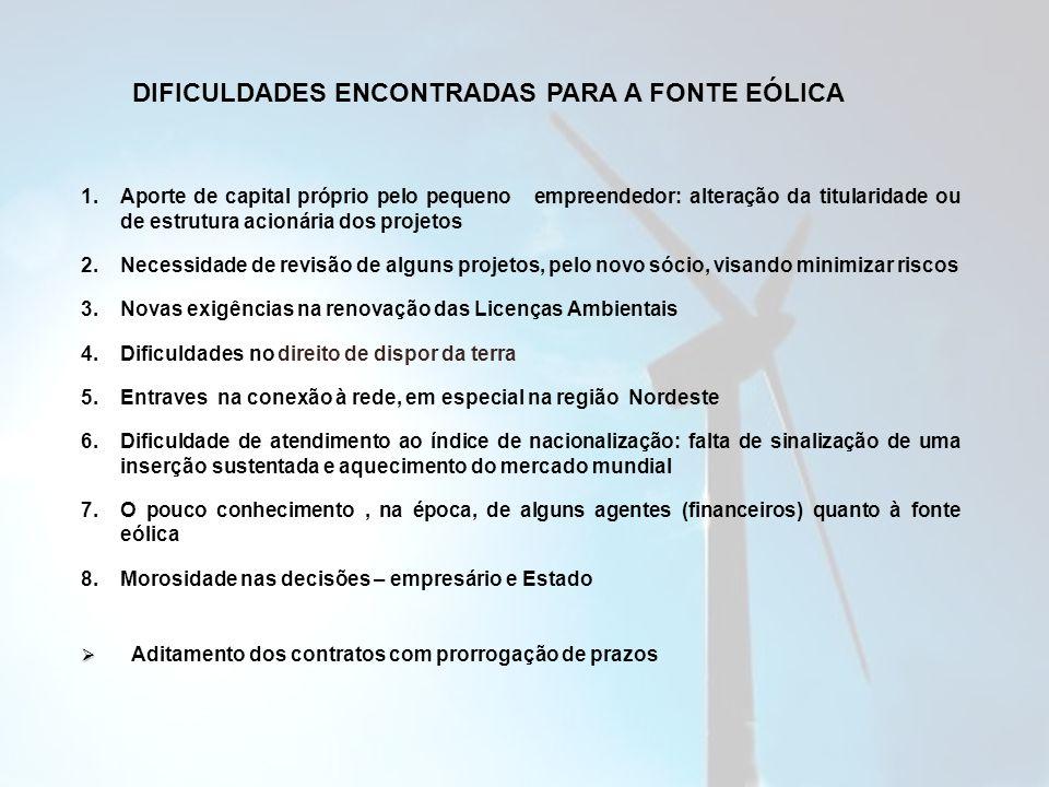 DIFICULDADES ENCONTRADAS PARA A FONTE EÓLICA