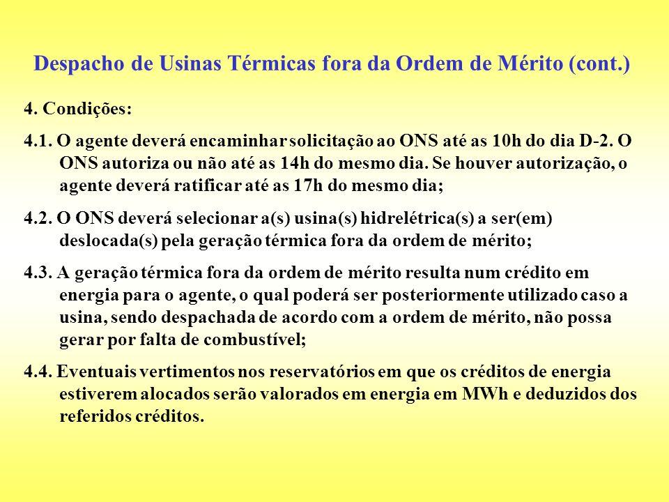 Despacho de Usinas Térmicas fora da Ordem de Mérito (cont.)