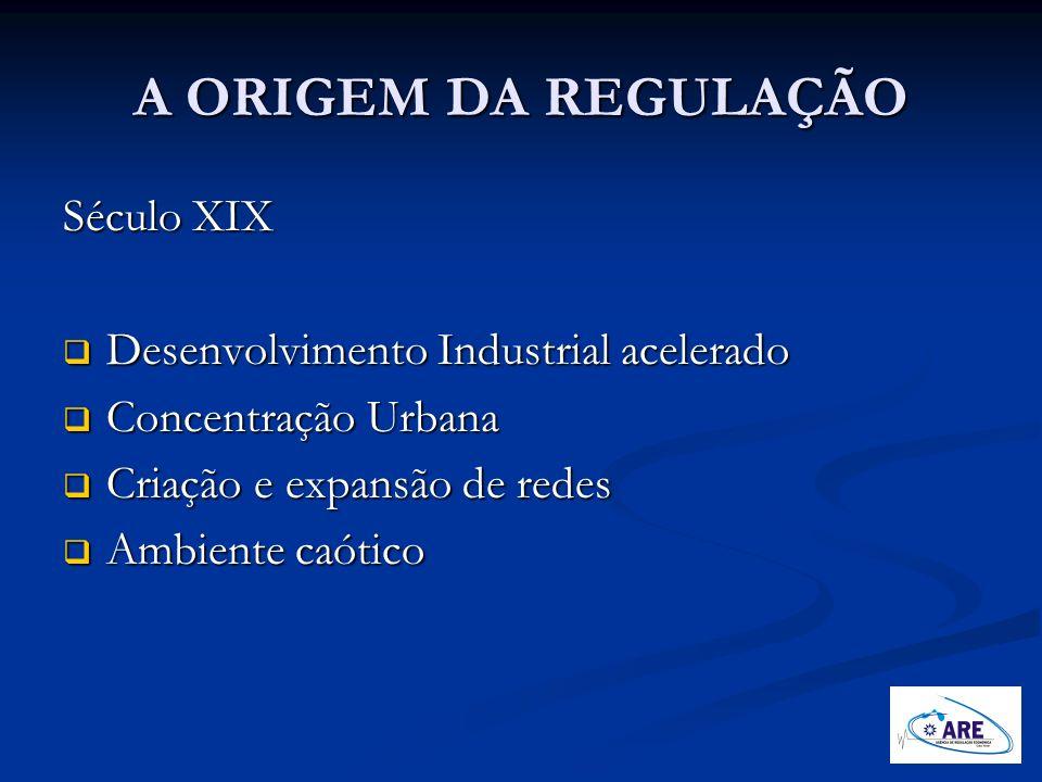 A ORIGEM DA REGULAÇÃO Século XIX Desenvolvimento Industrial acelerado