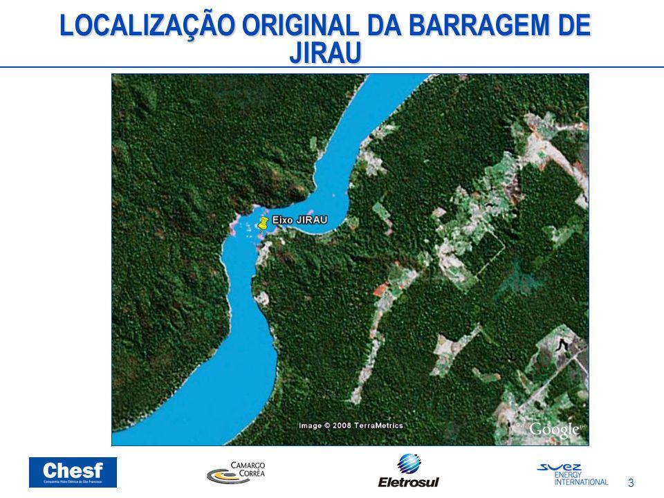 LOCALIZAÇÃO ORIGINAL DA BARRAGEM DE JIRAU