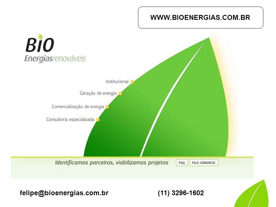 WWW.BIOENERGIAS.COM.BR felipe@bioenergias.com.br (11) 3296-1602