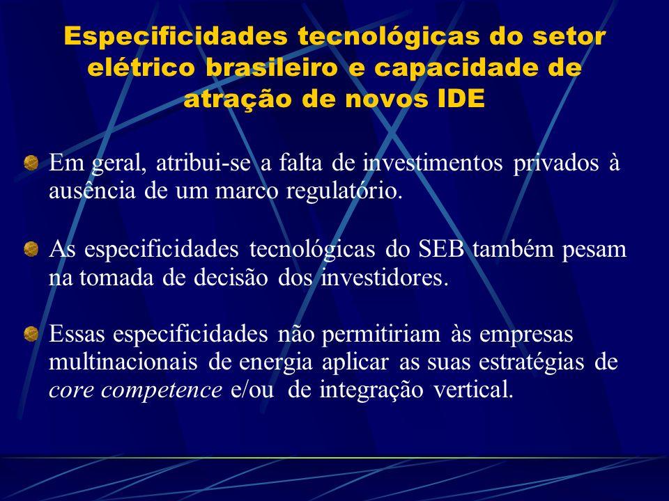 Especificidades tecnológicas do setor elétrico brasileiro e capacidade de atração de novos IDE
