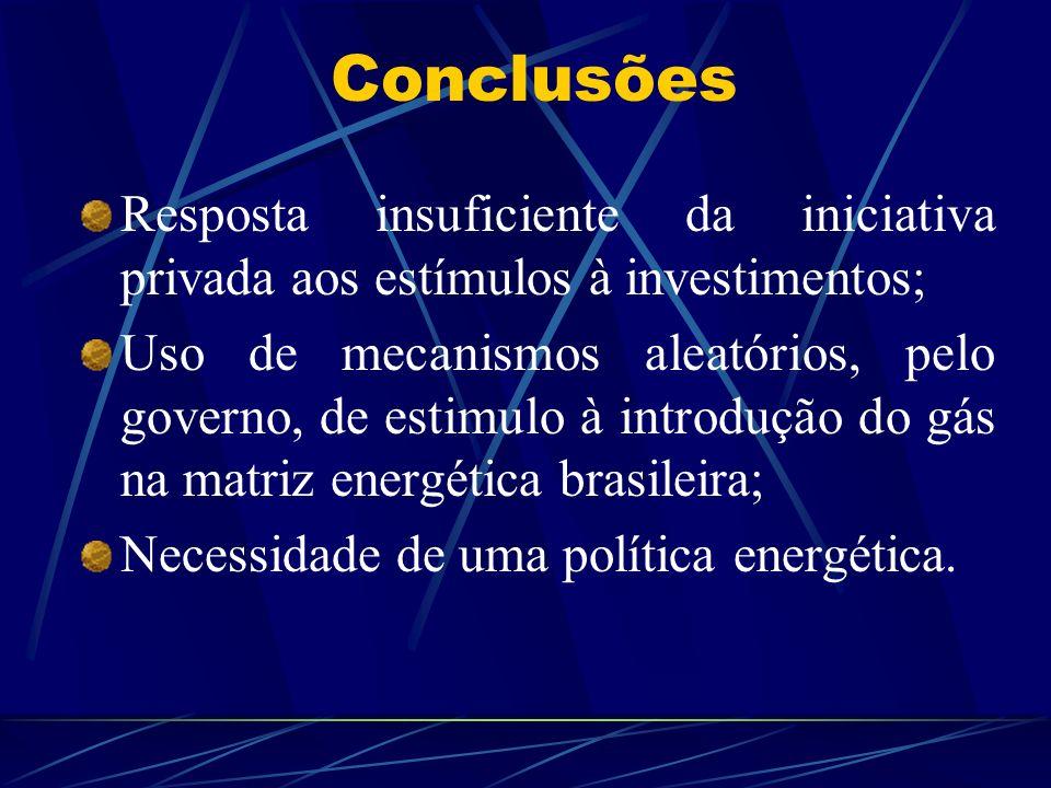 Conclusões Resposta insuficiente da iniciativa privada aos estímulos à investimentos;