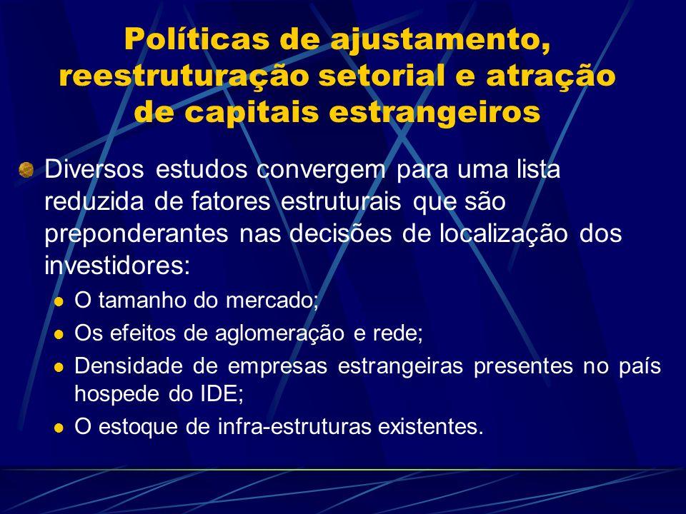 Políticas de ajustamento, reestruturação setorial e atração de capitais estrangeiros