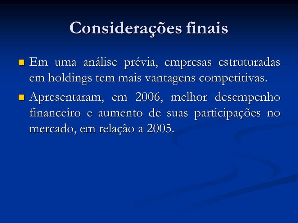 Considerações finais Em uma análise prévia, empresas estruturadas em holdings tem mais vantagens competitivas.