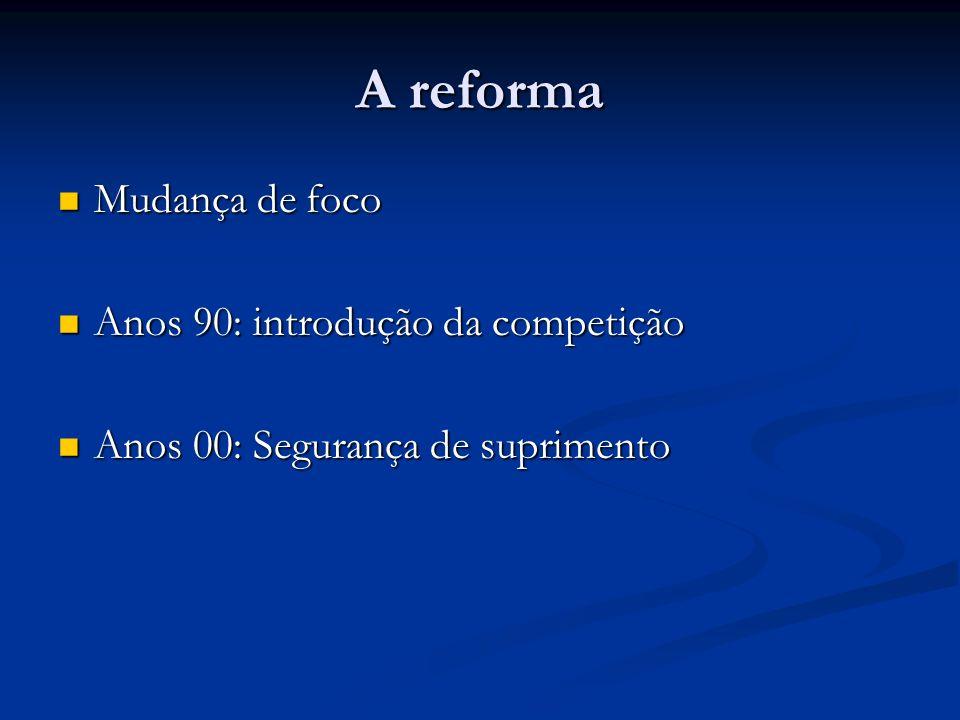 A reforma Mudança de foco Anos 90: introdução da competição