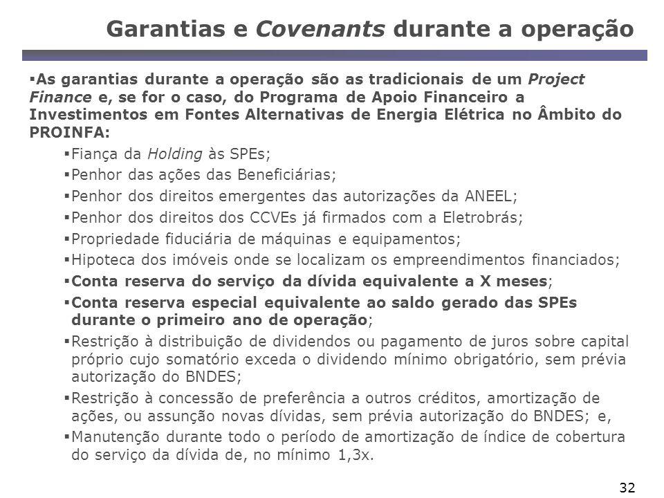 Garantias e Covenants durante a operação