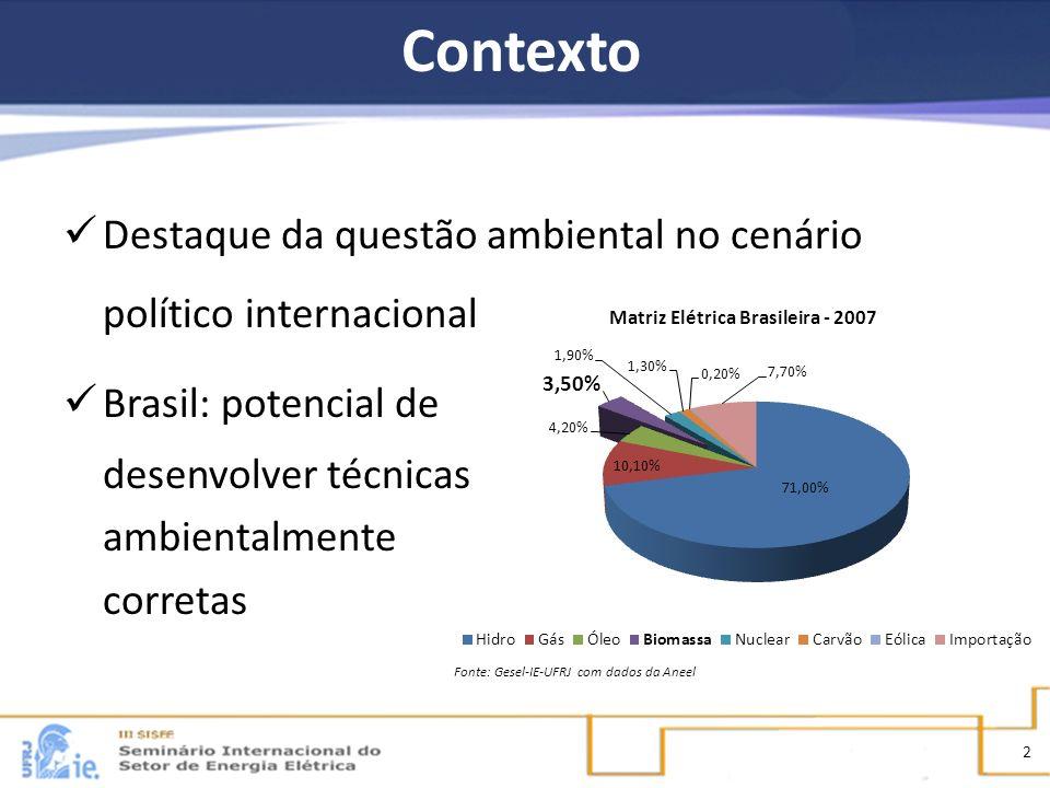 Contexto Destaque da questão ambiental no cenário político internacional. Brasil: potencial de. desenvolver técnicas.