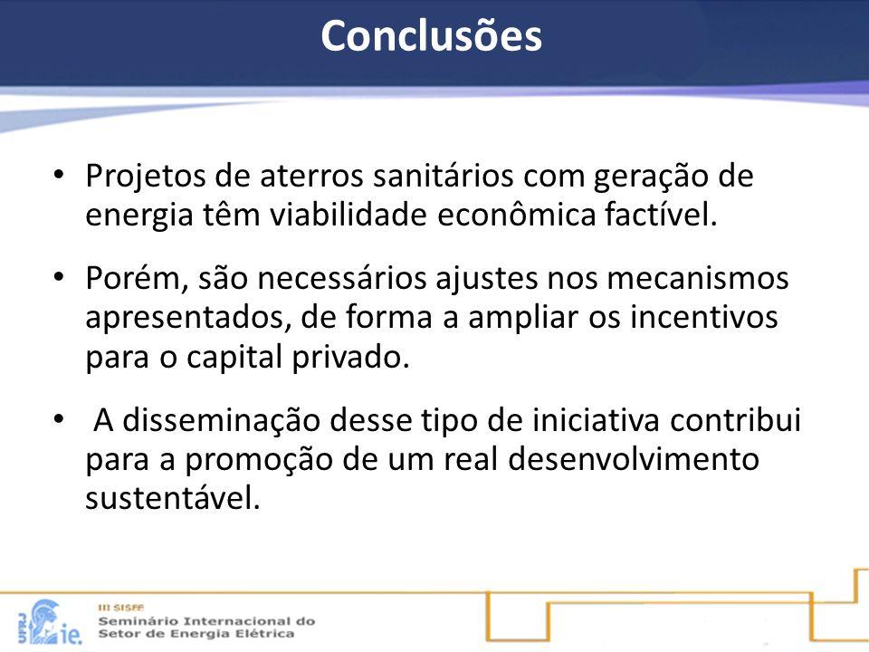 Conclusões Projetos de aterros sanitários com geração de energia têm viabilidade econômica factível.