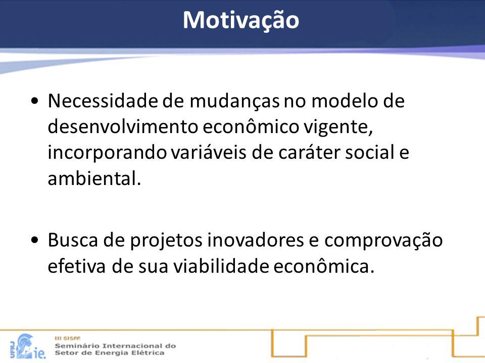 Motivação Necessidade de mudanças no modelo de desenvolvimento econômico vigente, incorporando variáveis de caráter social e ambiental.