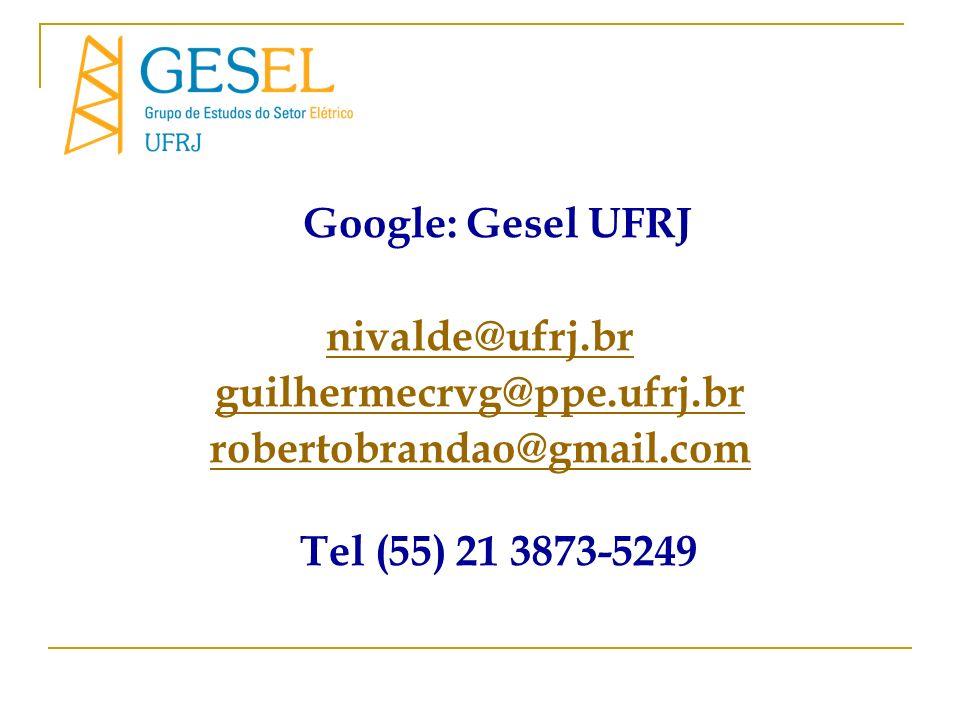 Google: Gesel UFRJ nivalde@ufrj.br. guilhermecrvg@ppe.ufrj.br.