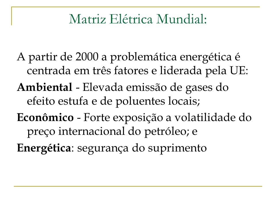 Matriz Elétrica Mundial: