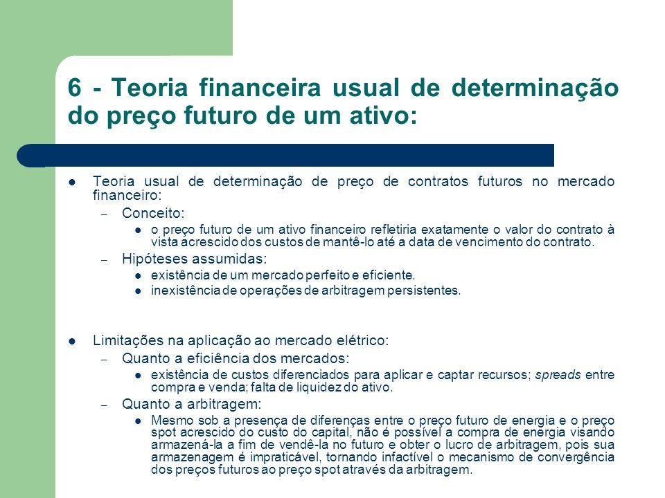 6 - Teoria financeira usual de determinação do preço futuro de um ativo: