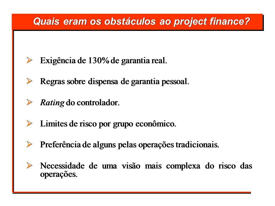Quais eram os obstáculos ao project finance