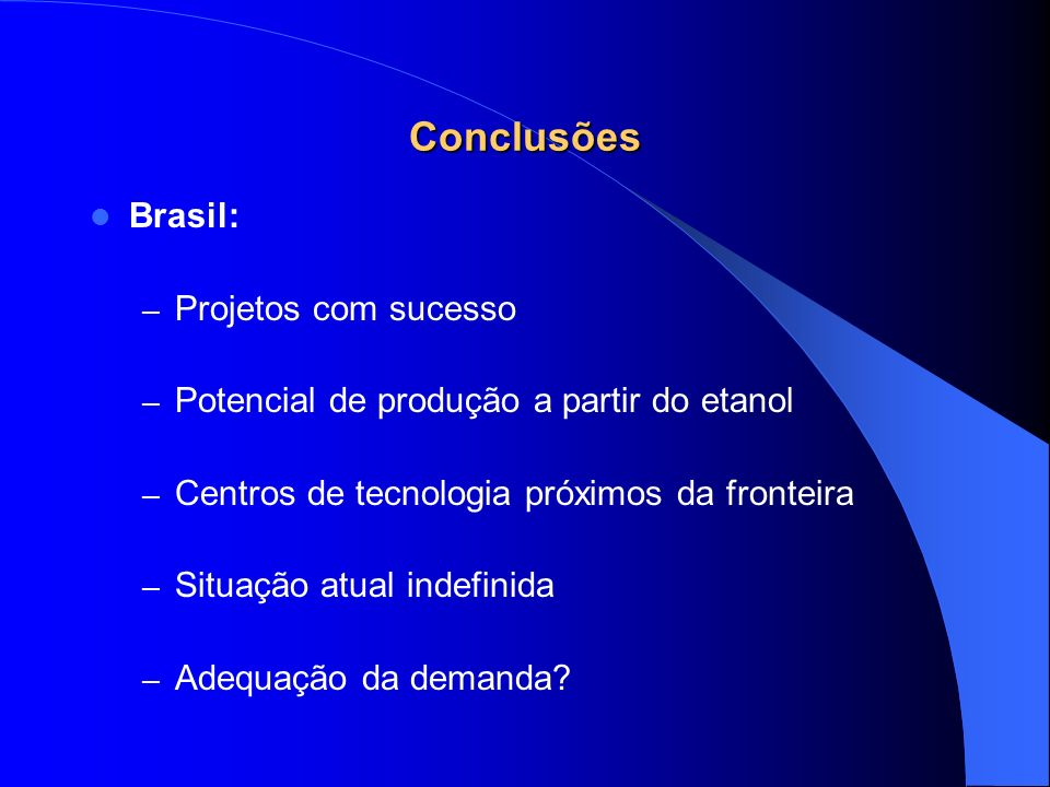 Conclusões Brasil: Projetos com sucesso
