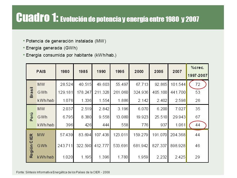 Fonte: Síntesis Informativa Energética de los Países de la CIER - 2008