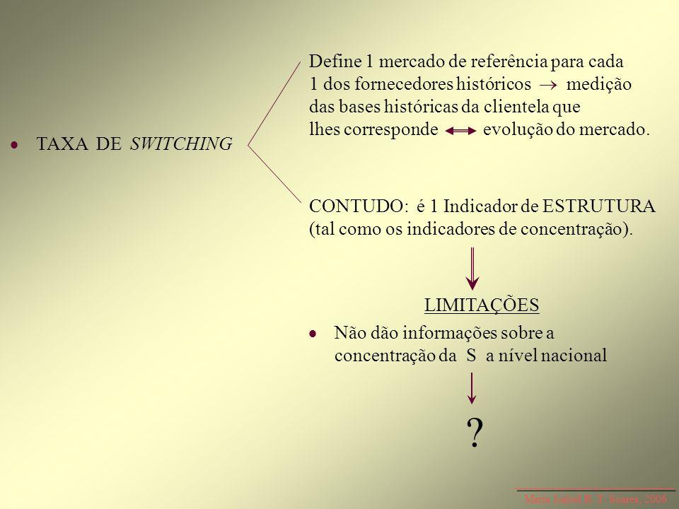 Define 1 mercado de referência para cada 1 dos fornecedores históricos  medição das bases históricas da clientela que lhes corresponde evolução do mercado.