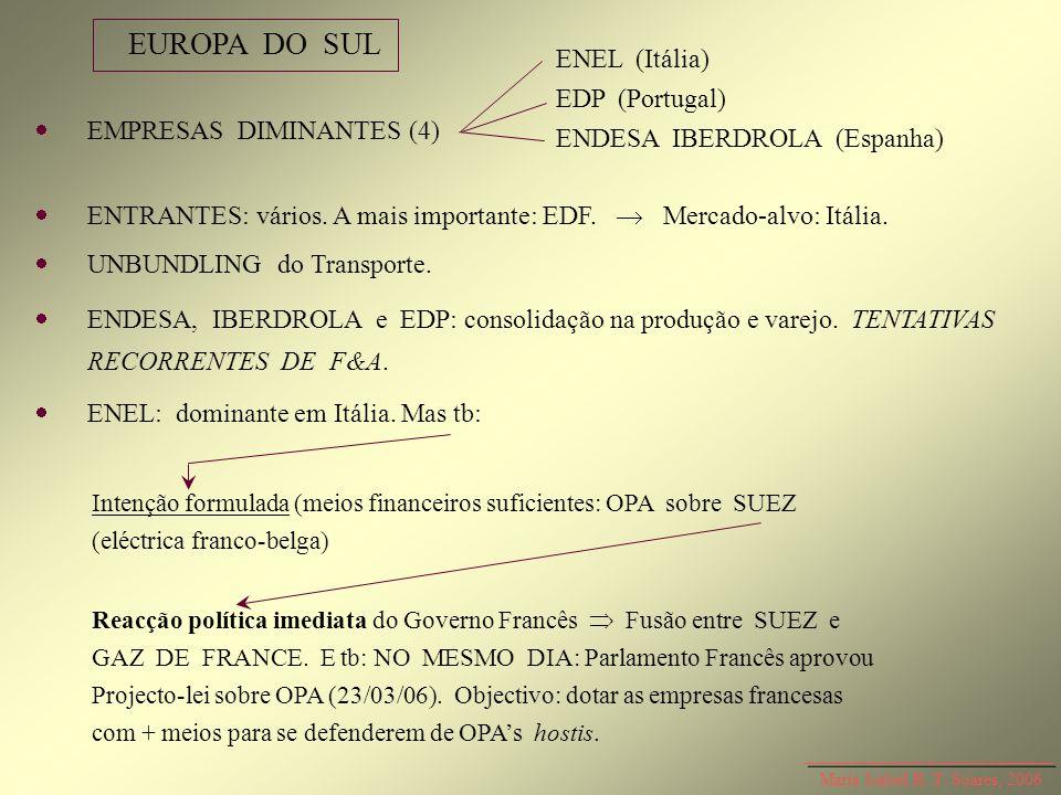 EUROPA DO SUL ENEL (Itália) EDP (Portugal) ENDESA IBERDROLA (Espanha)