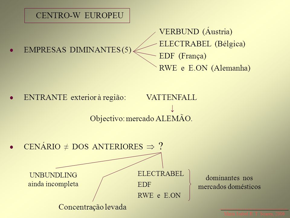 CENTRO-W EUROPEU VERBUND (Áustria) ELECTRABEL (Bélgica) EDF (França)