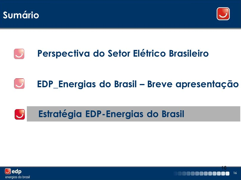 Sumário Perspectiva do Setor Elétrico Brasileiro. EDP_Energias do Brasil – Breve apresentação.