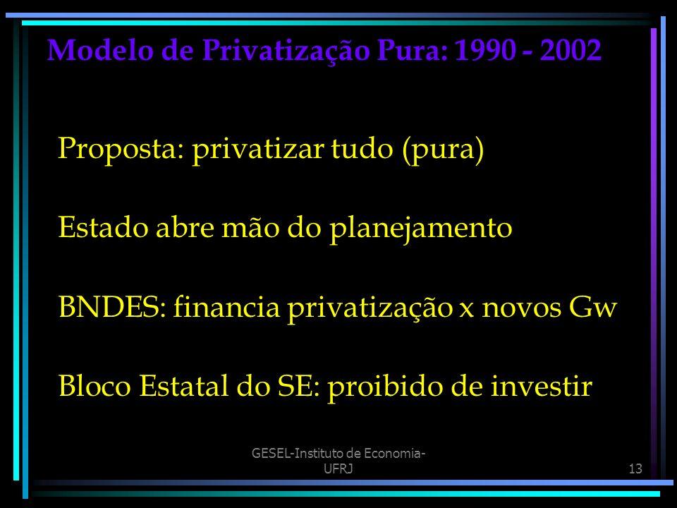 Modelo de Privatização Pura: 1990 - 2002