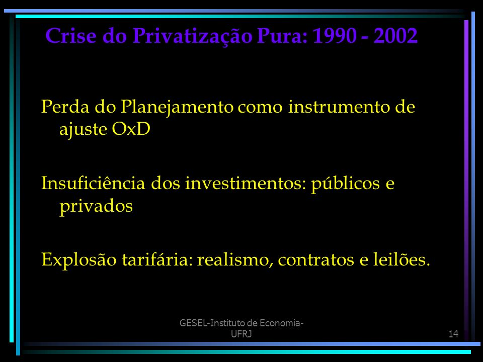Crise do Privatização Pura: 1990 - 2002