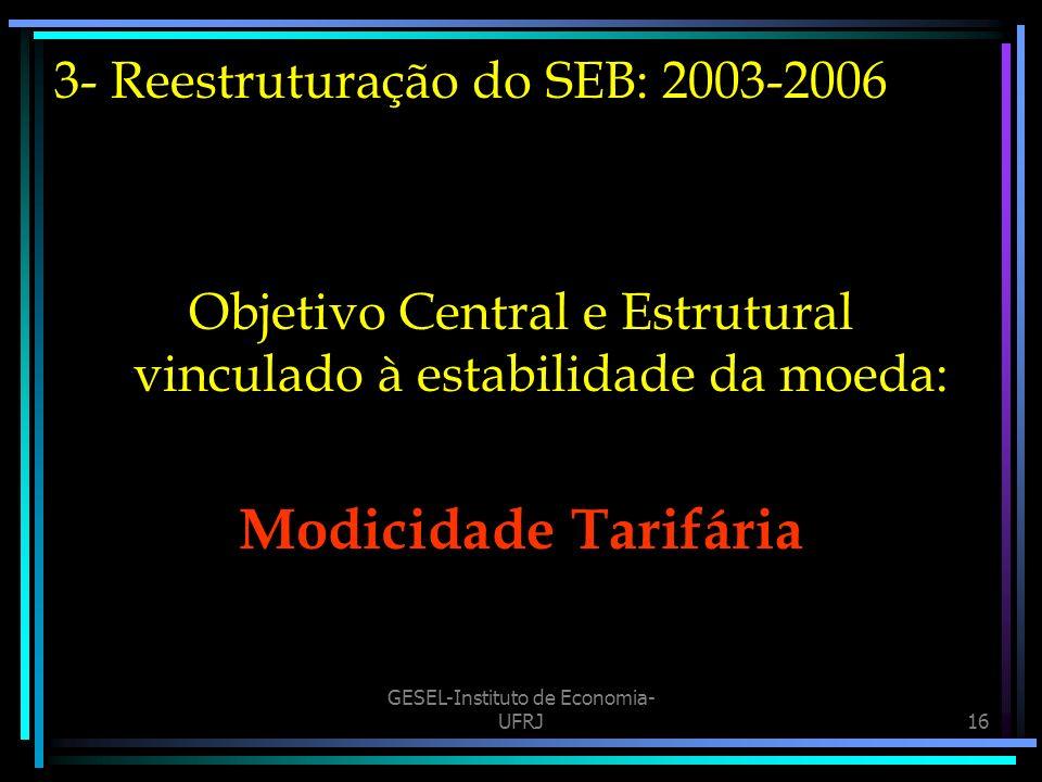 3- Reestruturação do SEB: 2003-2006