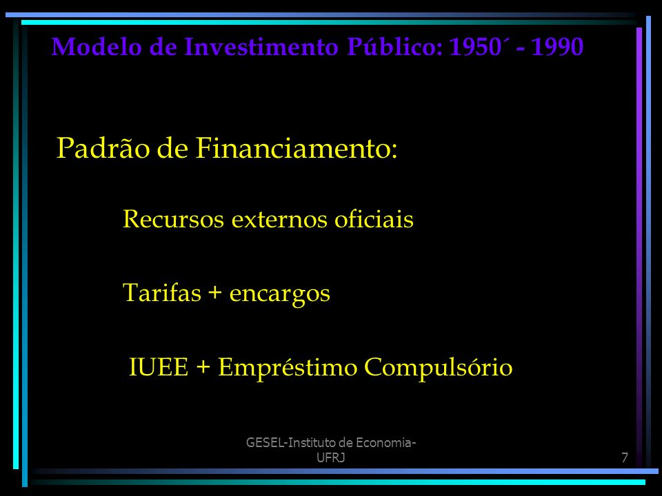 Modelo de Investimento Público: 1950´ - 1990